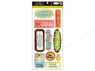 DieCuts Sticker Pop Up Grade School Words Glitter