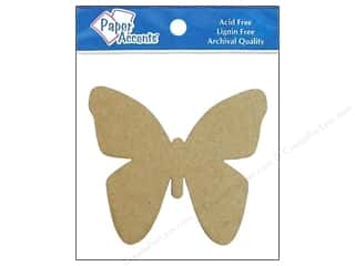 Paper Accents Chip Shape Butterfly Natural 8pc