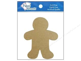 Christmas Brown: Paper Accents Chipboard Shape Gingerbread Man 8 pc. Kraft