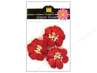 Bazzill Flowers Wild Rose Crimson 3pc
