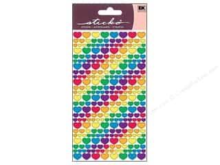 EK Success Stickers: EK Sticko Stickers Metallic Rainbow Hearts