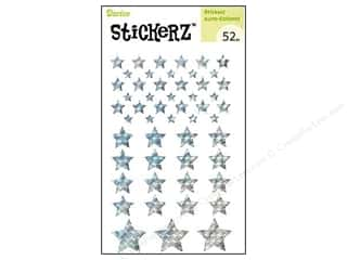 Independence Day Stickers: Darice Sticker Silver Stars 52pc