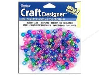 Plastics Beading & Jewelry Making Supplies: Darice Beads Craft Designer Pony Transparent 6x9mm Multi 360pc