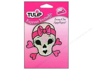 Sisters Length: Tulip Iron On Applique Medium Pink Bow Skull