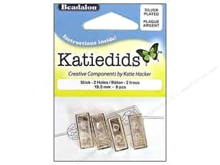 Beadalon Katiedids Stick 19.5mm 2 Hole Silver Plated 8pc