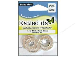 Beadalon Katiedids Round 25mm 5 Hole Silver Plated 6pc