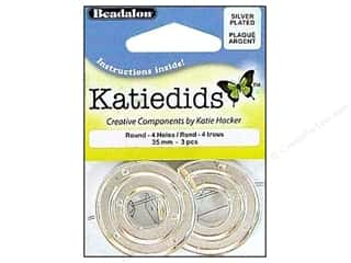 Beadalon Katiedids Round 35mm 4 Hole Silver Plated 3pc