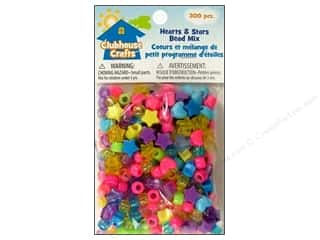 Kids Crafts Beading & Jewelry Making Supplies: Sulyn Clubhouse Crafts Bead Mix Hearts/Stars 300pc