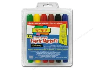 Scribbles Fabric Marker Dual Tip Perm Primary 6pc