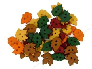 Fall / Thanksgiving Buttons: Jesse James Dress It Up Embellishments Tiny Raking Leaves