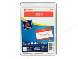 Avery Dennison 8.5 x 11: Avery Name Badge Labels 2 11/32 x 3 3/8 in. Red 100 pc.