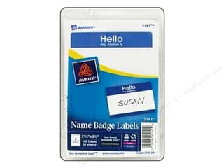 Labels Office: Avery Name Badge Labels 2 11/32 x 3 3/8 in. Blue 100 pc.