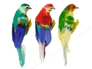 "Midwest Design Birds 4.75"" Feather Parrot 1pc Astd"