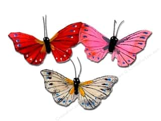 "Midwest Design Imports Midwest Design Butterfly: Midwest Design Butterfly 2.5"" Feather Assorted 2pc"
