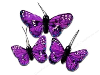 Decorative Floral Critters & Accessories $3 - $7: Midwest Design Butterfly Feather Small/Large Purple 3pc