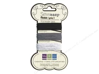 Clearance We R Memory Sew Ribbon Ribbon: We R Memory Sew Easy Floss 3 Assorted Grey 26yd