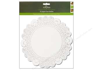 "Fox Run Craftsmen Paper Doily 10"" Round 12pc White"