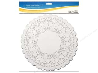 "Novelty Items: Fox Run Craftsmen Paper Doily 12"" Round 12 pc White"