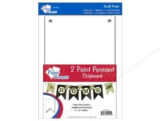 Eco Friendly /Green Products Paper Accents Chipboard Pennants: Paper Accents Chipboard Pennants 5 x 8 in. Two Point 9 pc. White