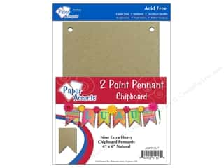 "Paper Accents Chipboard Pennants 2 Point 4""x 6""Natural  9pc"