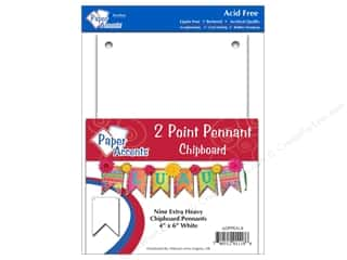 "Paper Accents Chipboard Pennants 2 Point 4""x 6"" White 9pc"