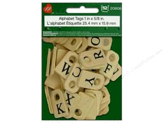 Lara's Black: Lara's Wood Painted Alphabet Tags 1 x 5/8 in. 52pc.