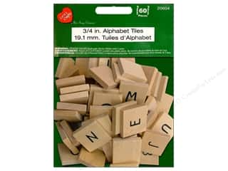 "Pre-Painted Wood: Lara's Painted Wood Alphabet Tiles .75"" 60pc"
