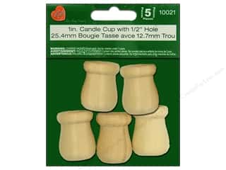 Lara's Wood Candle Cup 1 in. with 1/2 in. Hole 5 pc.