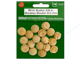 "Lara's Wood Birch Button 3/8"" 18pc"