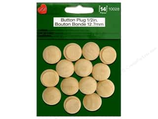 "Lara's Wood Button Plug .5"" 14pc"