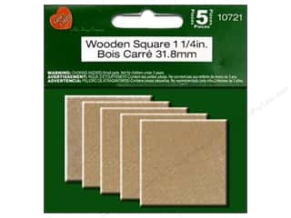 "Lara's Wood Square 1.25"" 5pc"