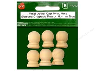 "Lara's Wood Finial Dowel Cap 15/16""x .25"" Hole 6pc"