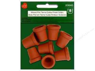 Lara&#39;s Painted Wood Wood Pot 5/8&quot; Terra Cotta 8pc