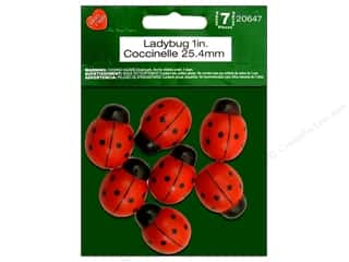 Lara's Black: Lara's Wood Painted Ladybug 1 in. 7pc.