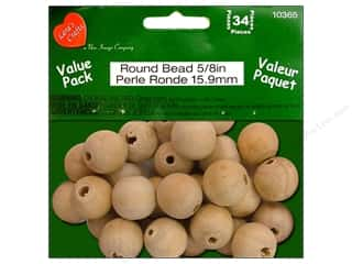 Lara&#39;s VP Wood Round Bead .5/8&quot; 34pc