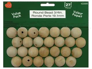 wood beads: Lara's Wood Round Bead Value Pack 3/4 in. 27 pc.