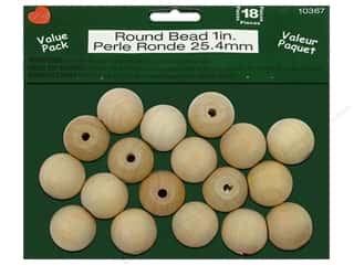 Lara's: Lara's Wood Round Bead Value Pack 1 in. 18 pc.