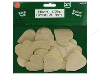 Hearts inches: Lara's Wood Heart Value Pack 1 1/2 in. 21 pc.