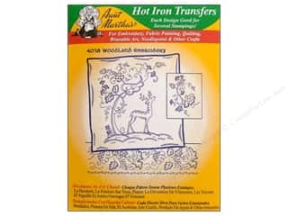 Embroidery Green: Aunt Martha's Hot Iron Transfer #4018 Green Woodland Embroidery