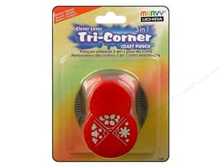 Clearance Uchida Tri-Corner 3 in 1 Punch: Uchida Punch Clever Lever Tri-Corner 3in1 Flowers