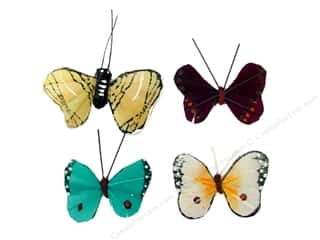 "Wire Burgundy: Midwest Design Butterfly 1.25"" Feather Assorted 1pc"