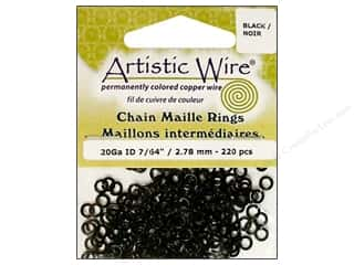 Artistic Wire Black: Artistic Wire Chain Maille Jump Rings 20 ga. 7/64 in. Black 220 pc.