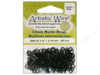 Findings Artistic Wire™: Artistic Wire Chain Maille Jump Rings 20 ga. 1/8 in. Black 200 pc.