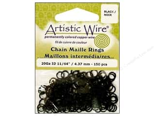 Artistic Wire Jump Rings 20 ga. 11/64 in. Black 150 pc.