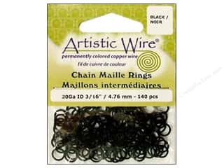 Clearance Blumenthal Favorite Findings: Artistic Wire Jump Rings 20 ga. 3/16 in. Black 140 pc.