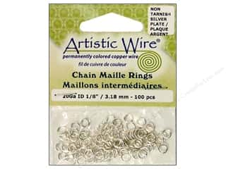 Findings Artistic Wire™: Artistic Wire Chain Maille Jump Rings 20 ga. 1/8 in. Silver 100 pc.
