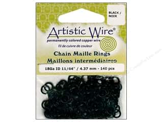 Findings Artistic Wire Jump Rings: Artistic Wire Chain Maille Jump Rings 18 ga. 11/64 in. Black 140 pc.