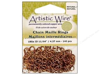 jump rings: Artistic Wire Jump Rings 18 ga. 11/64 in. Natural 140 pc.