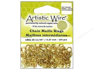 "Brass Rings 11"": Artistic Wire Chain Maille Jump Rings 18 ga. 11/64 in. Brass 100 pc."
