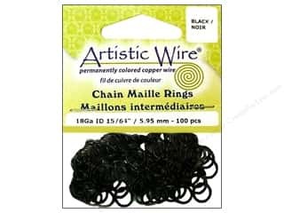 Findings Artistic Wire Jump Rings: Artistic Wire Chain Maille Jump Rings 18 ga. 15/64 in. Black 100 pc.